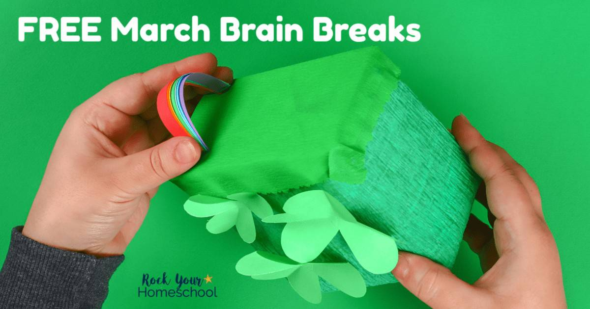 These free printable March Brain Breaks cards are easy ways to add easy fun to your homeschool day.