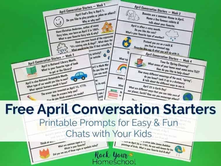 These free printable prompts of April Conversation Starters are easy & fun ways to help your kids with self-expression as you connect.