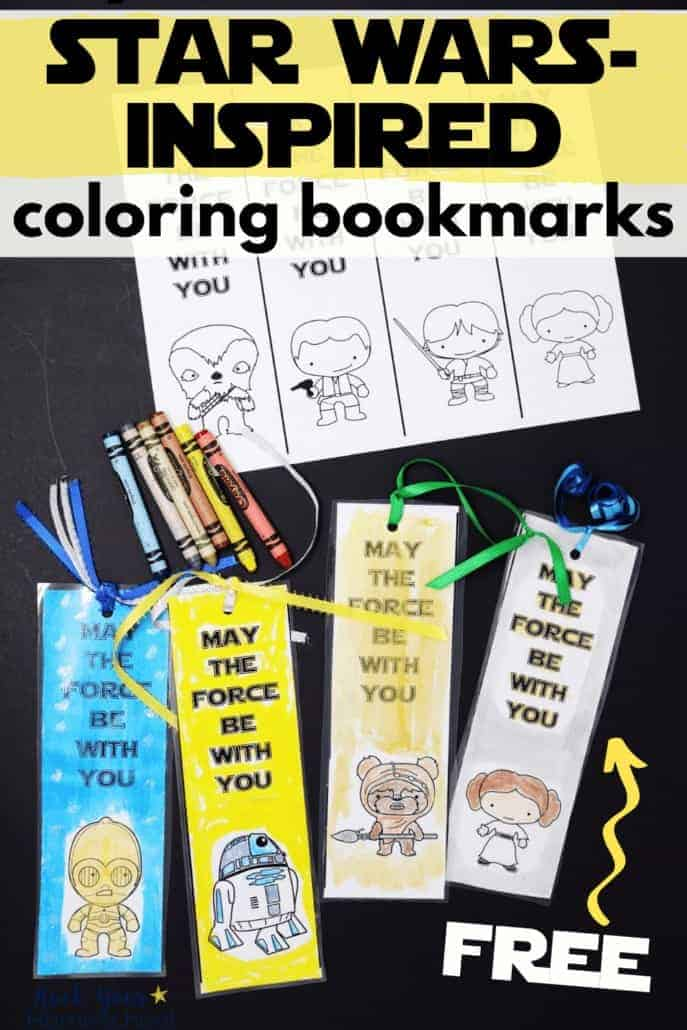Free Star Wars-Inspired coloring bookmarks with crayons to feature the variety of ways to boost reading fun with these stellar free printable bookmarks