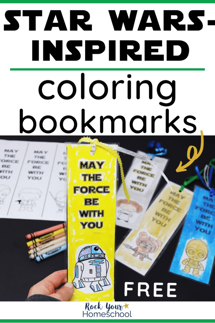 Woman holding a Star Wars-Inspired coloring bookmark featuring Rs-D2 with other coloring bookmarks & crayons to feature the variety ways of to have Star Wars reading fun with kids