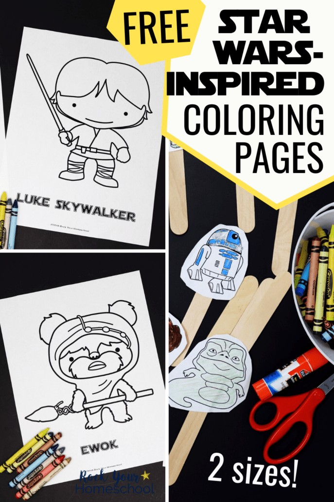 Star Wars-Inspired coloring pages featuring Luke Skywalker & Ewok and small-sized colored figures glued onto wood craft sticks to feature the variety of ways to have Star Wars fun with these free printable activities