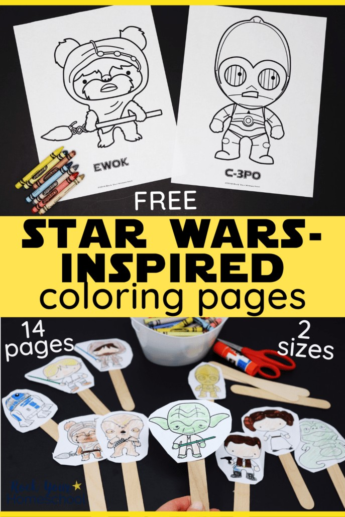Free Star Wars-Inspired coloring pages featuring Ewok & C-3PO and crayons & small-sizesd figures colored & glued onto wooden craft sticks to feature all the awesome ways to have fun with these free Star Wars coloring activities