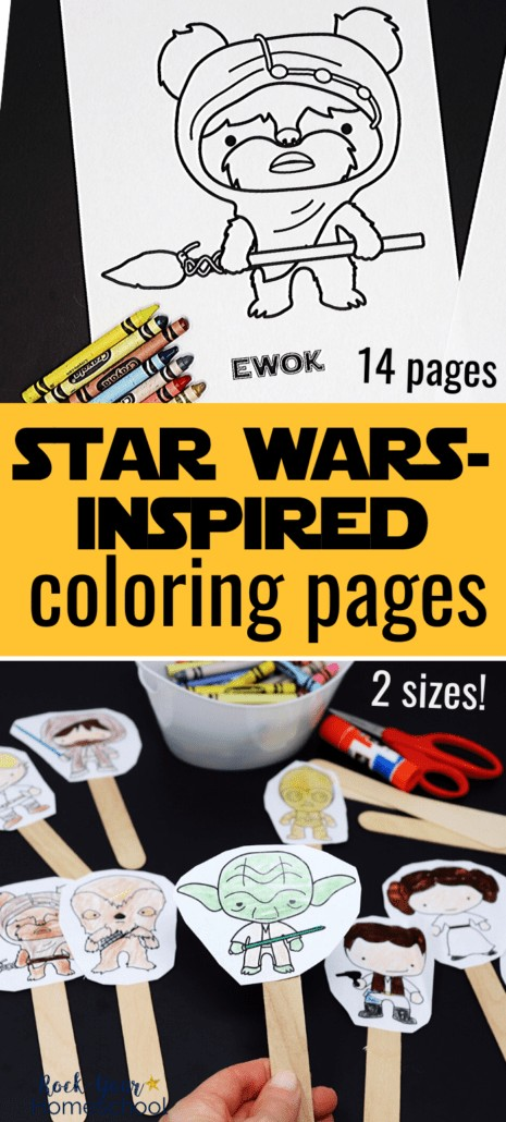Star Wars-Inspired coloring page with Ewok & crayons and small-sized figures glued on wood craft sticks to feature the variety of ways you can have Star Wars fun with these free printable Star Wars coloring activities