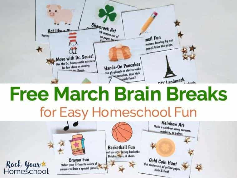 March brain break cards are great for easy homeschool fun.