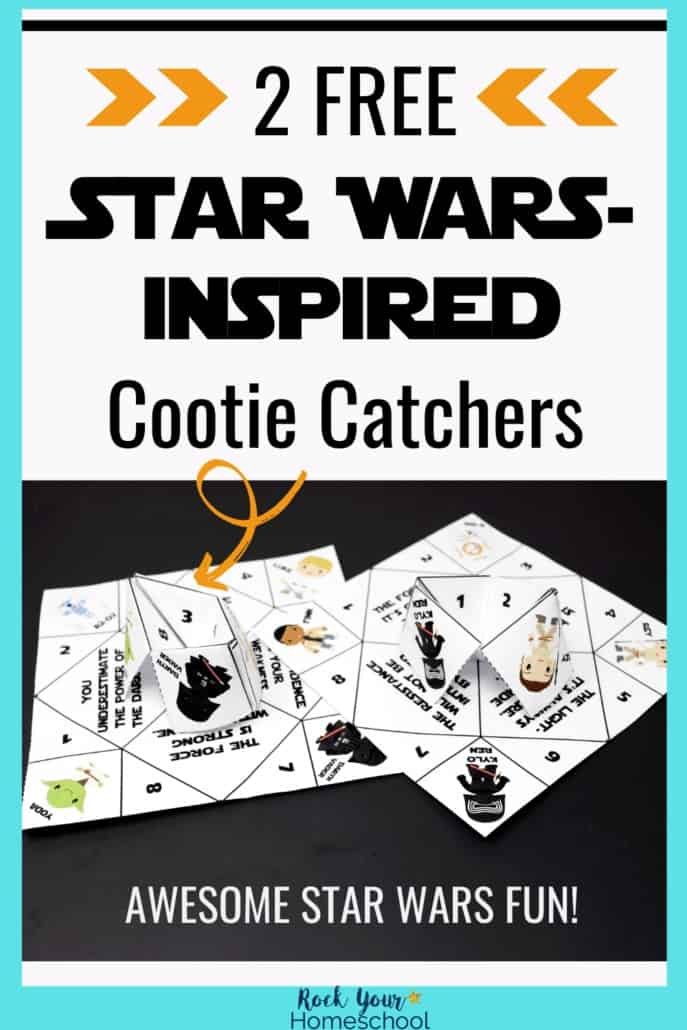 2 free Star Wars-Inspired cootie catchers on black paper to feature the stellar hands-on fun you can have with these printable activities