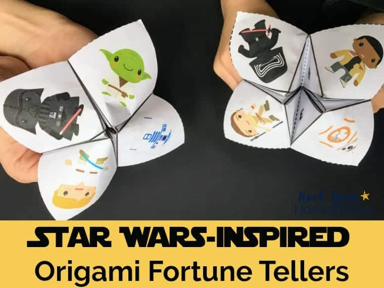 Have a blast with these 2 free Star Wars-Inspired Origami Fortune Tellers. Great for parties, classroom use, family, & homeschool fun.