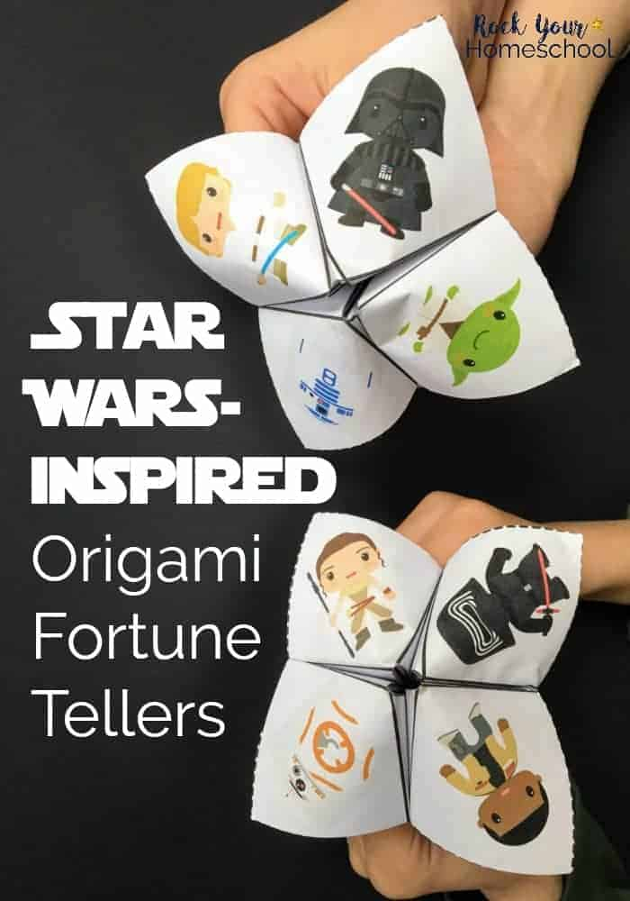 2 paper origami fortune tellers with Star Wars Characters on black background