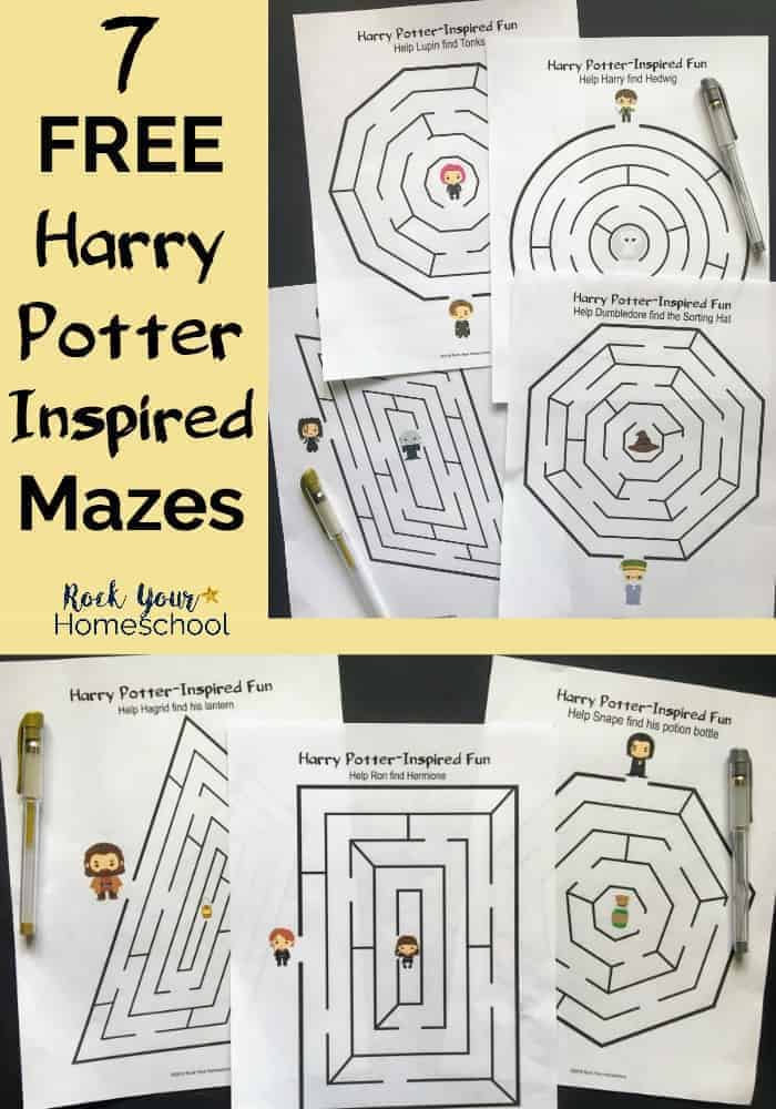 7 Harry Potter mazes as printables on black background