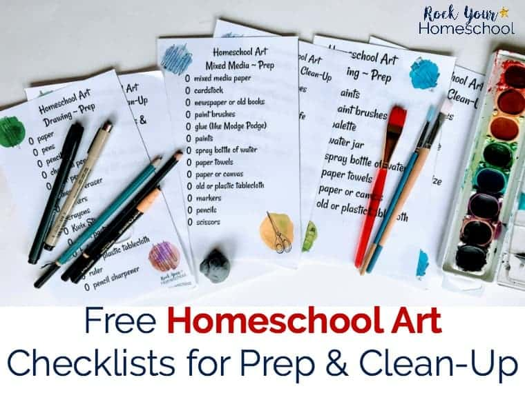 Make homeschool art time easy with these free checklists for prep & clean-up. Great resources to help your kids learn how to take care of their art supplies & build good habits.