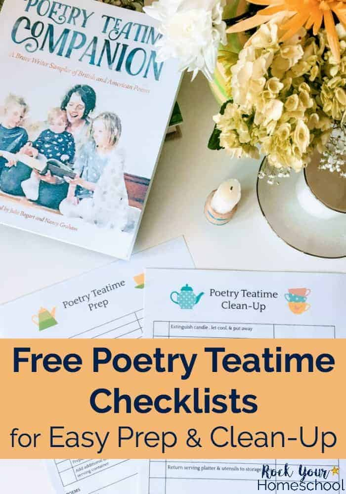 Poetry Teatime Companion book with DIY beeswax candle, flowers, & tea cup with Poetry Teatime Checklists Prep & Clean-Up