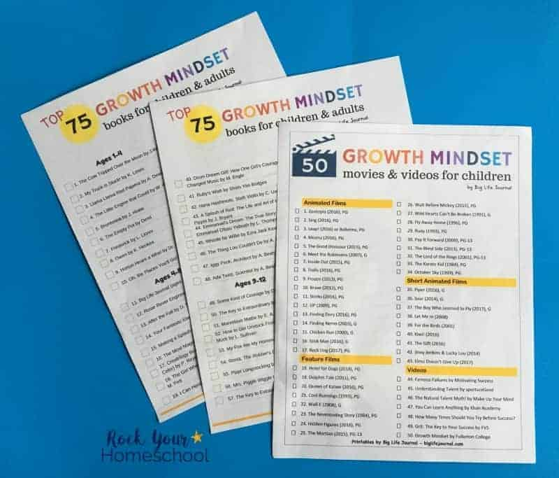 These printable lists from Big Life Journal provide you with amazing recommendations to help you empower with growth mindset for kids.