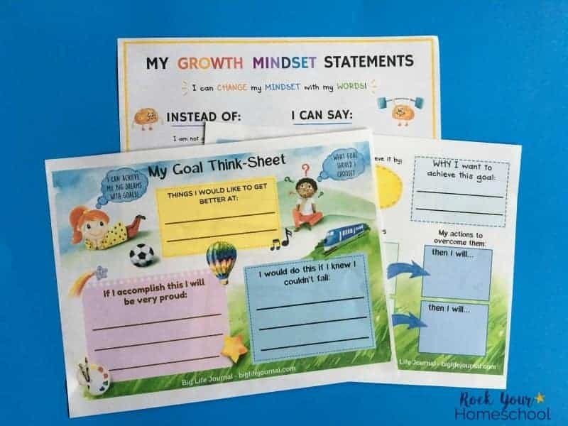 These goal setting worksheets (part of Big Life Journal Growth Mindset Kit) are wonderful for helping you empower with a growth mindset for kids.