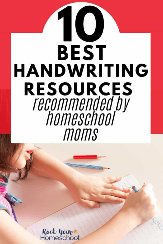 Girl writing with color pencils to feature the 10 best handwriting resources recommended by homeschool moms