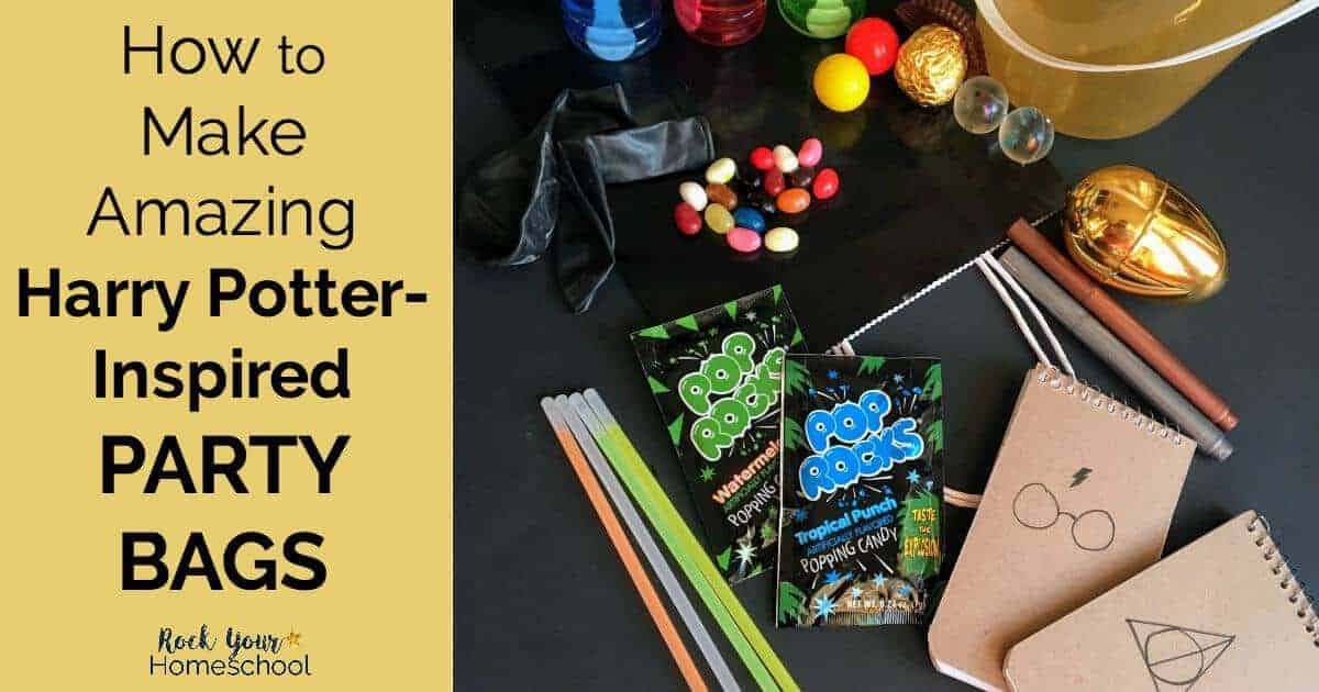 Discover how you can make amazing Harry Potter-Inspired party bags for birthdays, classroom, family, & homeschool fun.