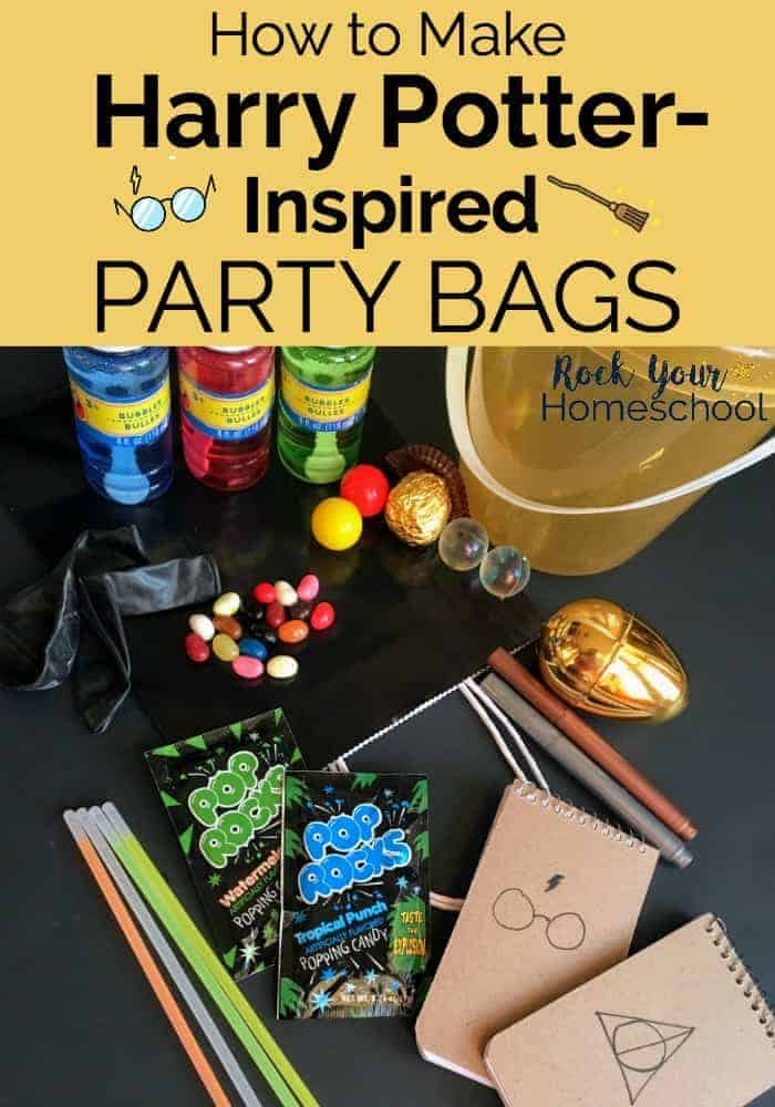 Harry Potter party favors and supplies like pencils, jelly beans, bubbles, and more to feature how you can make your own Harry Potter-Inspired party bags