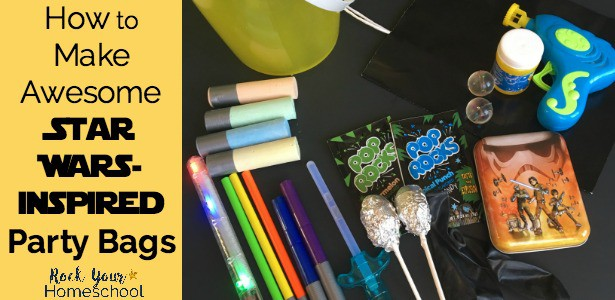 Discover how to make awesome Star Wars-Inspired party bags for classroom, birthday, family, & homeschool goody bag fun.