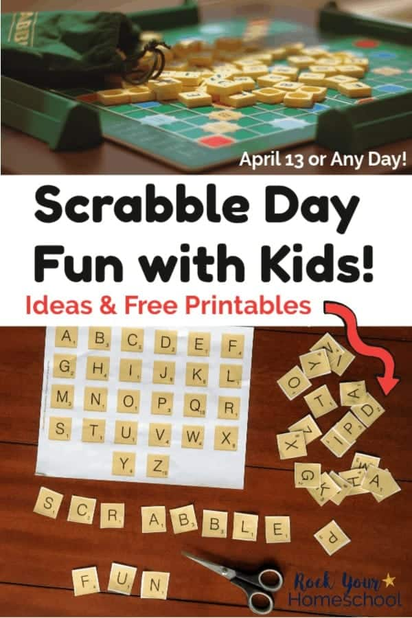 Scrabble game, tiles, & bag and free printable Scrabble Day Fun with scissors on dark wood