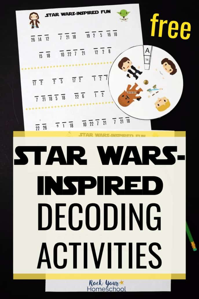 Star Wars-Inspired decoding activities with decoder featuring Han Solo, Princess Leia, Chewbacca, Luke Skywalker, Obi-Wan Kenobi, & Yoda to highlight the fun challenges to be had with these free printable Star Wars-Inspired Decoding Activities
