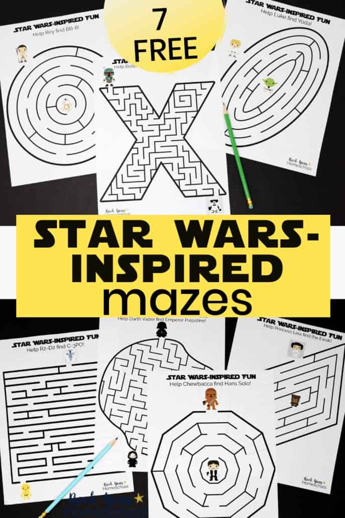 7 free Star Wars-Inspired Mazes featuring Darth Vader, Palpatine, Chewbacca, Han Solo, R2-D2, C-3PO, Princess Leia, Luke Skywalker, Yoda & more to highlight how these printable activities are awesome for your classroom, party, library, & more