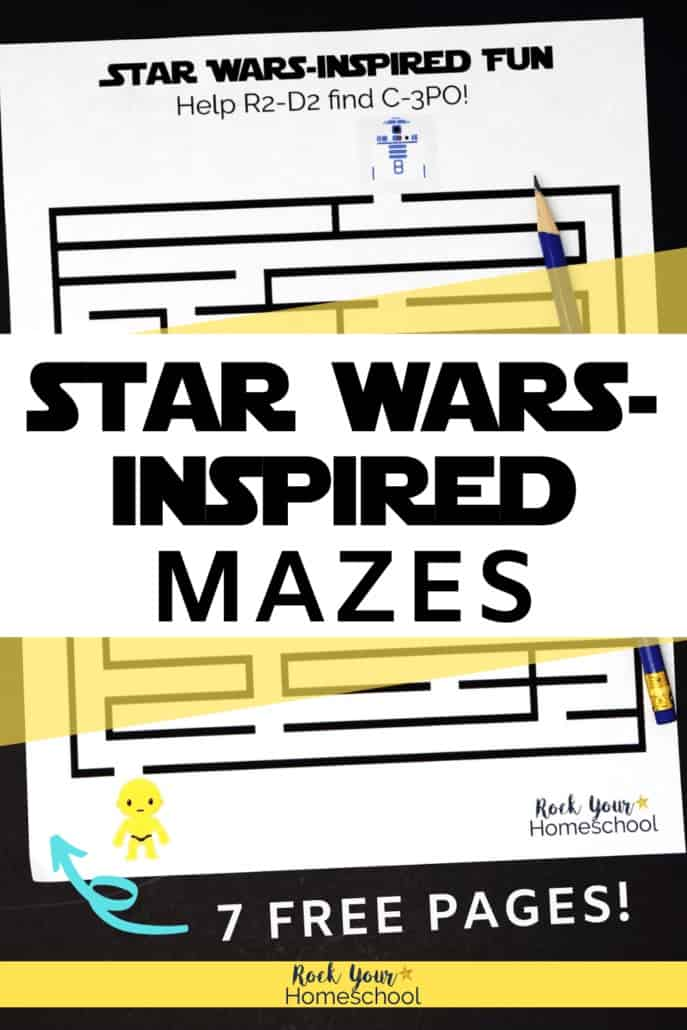 Star Wars-Inspired maze featuring R2-D2 & C-3PO to show how these awesome free printable activities are great challenges for your Star Wars fans