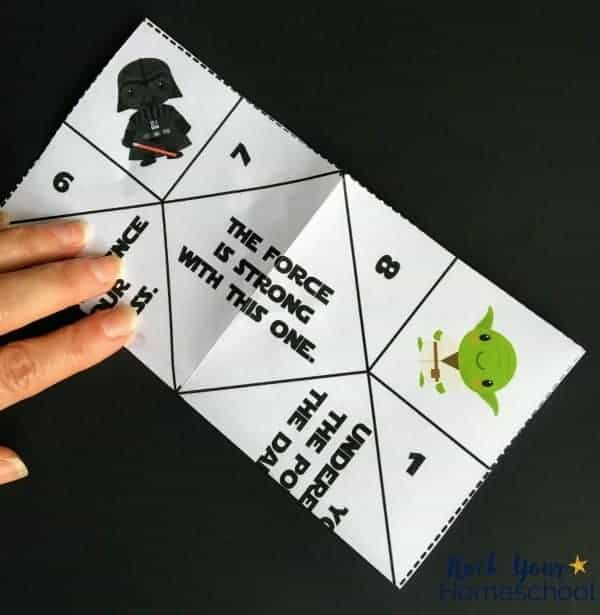 These free Star Wars-Inspired origami fortune tellers are super easy to make.