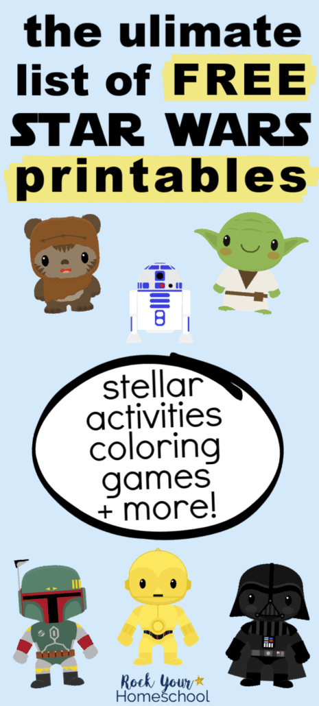 Cute Star Wars clipart of Ewok, R2-D2, Yoda, Boba Fett, C-3PO, & Darth Vader to feature the variety of printables you'll find in this ultimate list for free Star Wars activities, games, party, & more