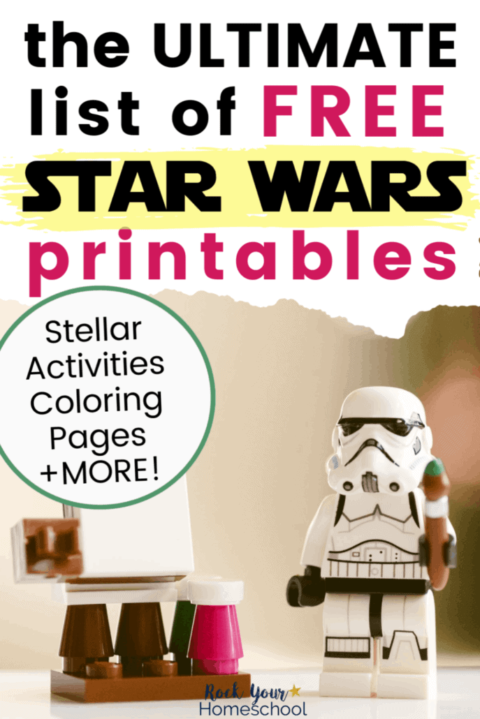 Storm Trooper Lego figure with paint brush & easel & paints to feature the variety of Star Wars fun you can have with this Ultimate List of Free Star Wars-Inspired Printables