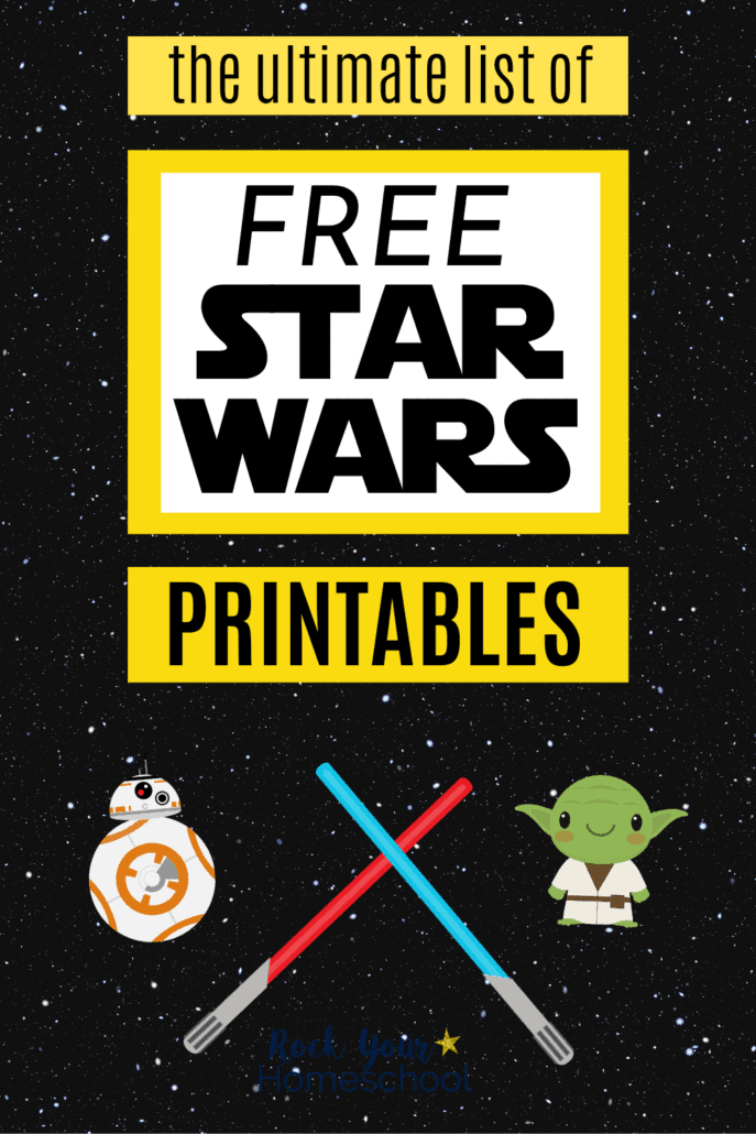 Cute BB-8 and Yoda with blue and red light sabers on black space background to feature the stellar fun you'll have with this ultimate list of free Star Wars printables