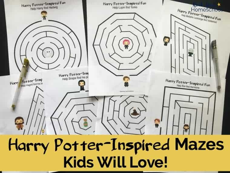 Add a touch of magic to your birthday parties, classroom, family, & homeschool fun with these 7 free Harry Potter-Inspired mazes.