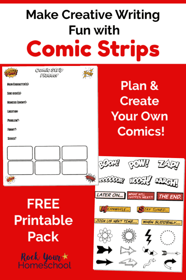 Free Comic Strips for Creative Writing Fun for Kids printables on red background
