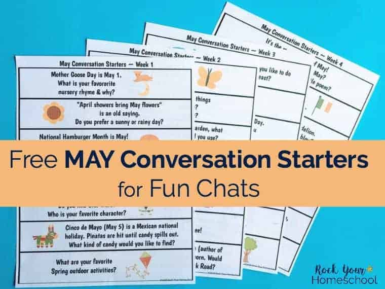 Get ready for some wonderful discussion with your kids! These free printable May Conversation Starters are easy-to-use prompts about fun holidays & seasonal themes.