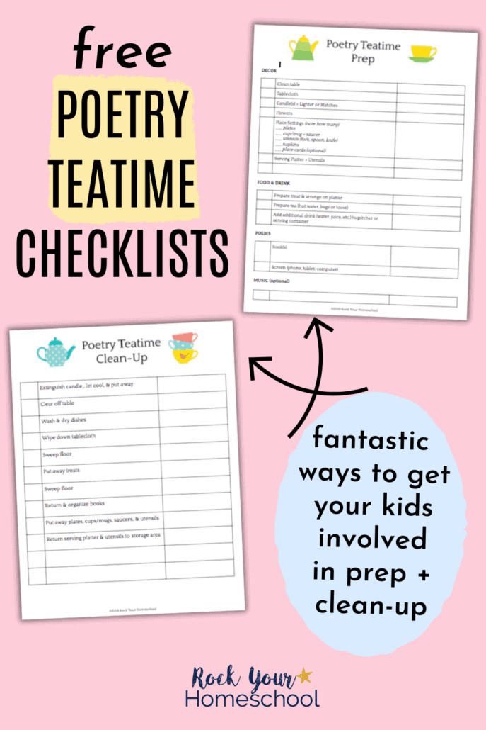 2 poetry teatime checklists for prep and clean-up to help you make your poetry teatime for kids special and successful