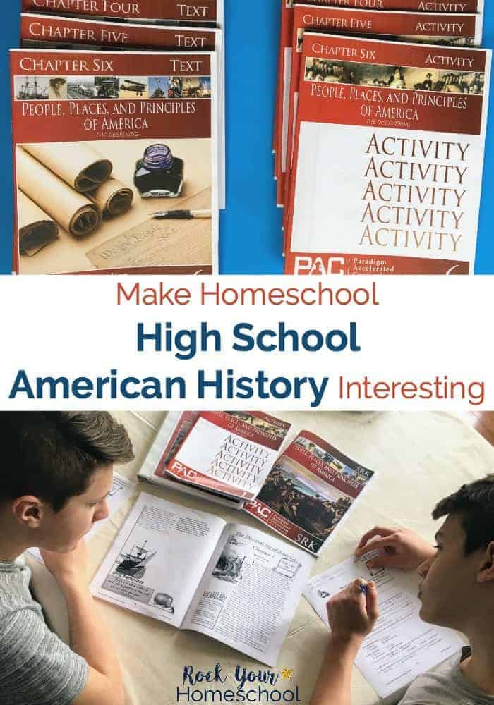 American History resources on blue background plus teen boys reading history books