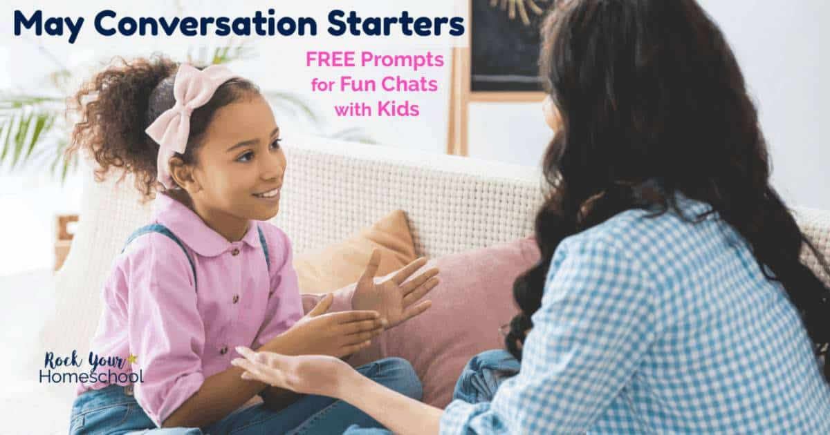 Enjoy fun chats with kids using these May Conversation Starters! These free printable prompts have seasonal & fun holiday themes that are great for boredom busters, ice breakers, mealtime chats, & more.