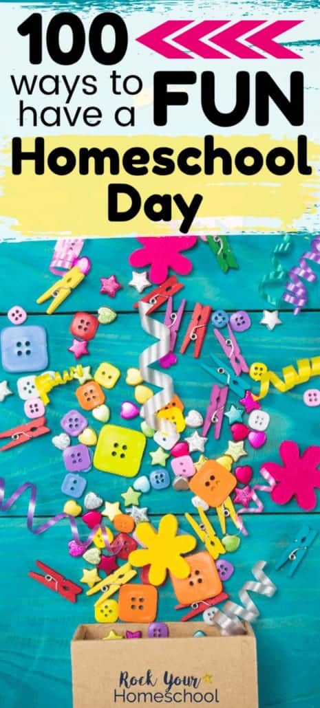 Variety of buttons, bows, sequins, clips, & more poured out of open cardboard box on blue wood background to feature the variety of ways you can add fun to your homeschool day