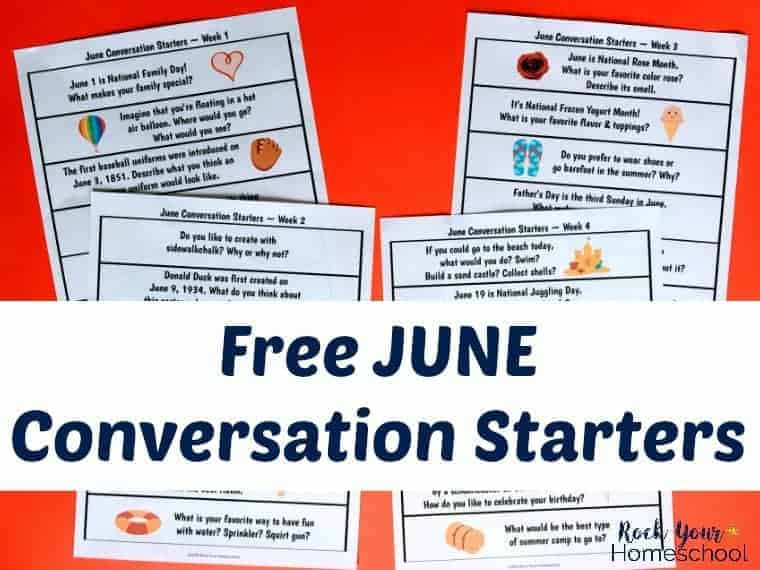 These June conversation starters are awesome prompts for discussion or writing to use with kids for fun chats & more!