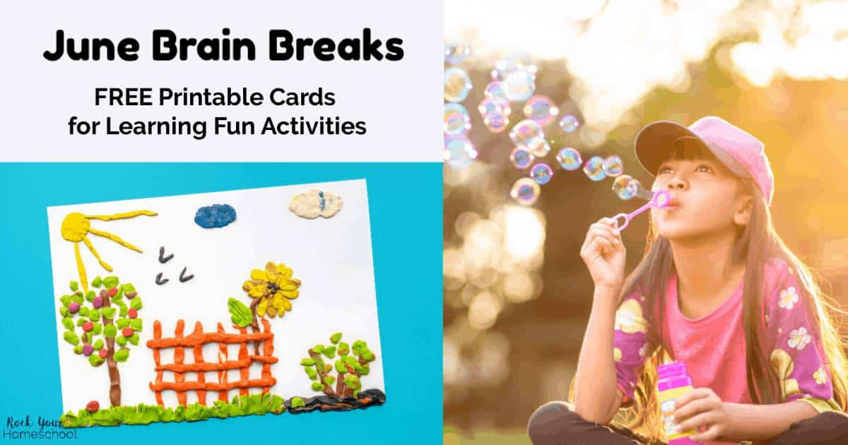 These free printable June Brain Breaks for kids cards are awesome ways to encourage your kids to have creative learning fun.