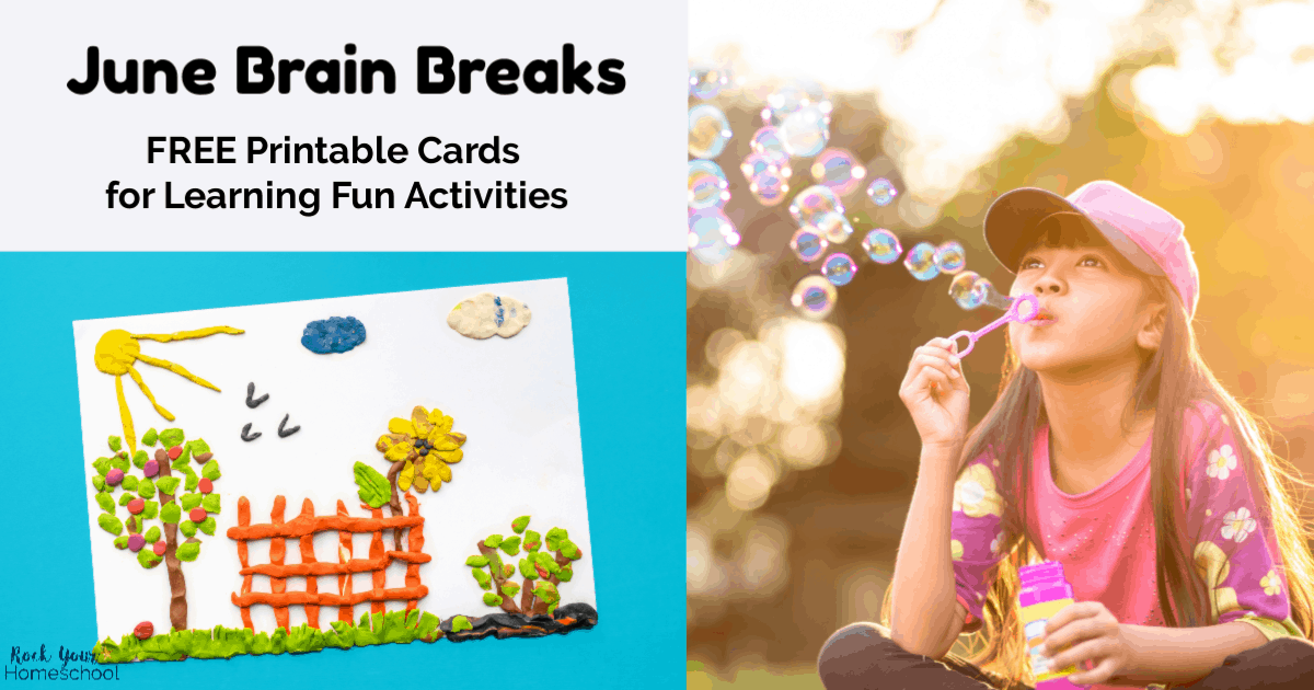 photograph regarding Break Cards for Students Printable identified as Absolutely free June Head Breaks for Very simple Homeschool Pleasurable - Rock Your