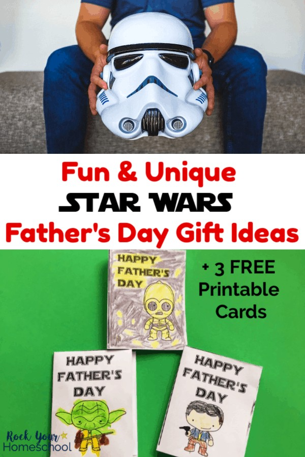 Man wearing blue shirt & jeans holding Star Wars Storm Trooper helmet and 3 free printable Star Wars Happy Father's Day cards featuring C3-PO, Yoda, & Han Solo on green background
