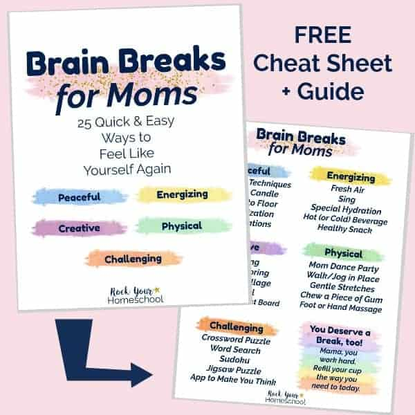 Feel like yourself instead of frazzled & freaking out! Use Brain Breaks for Moms for quick & easy ways to make self-care happen.