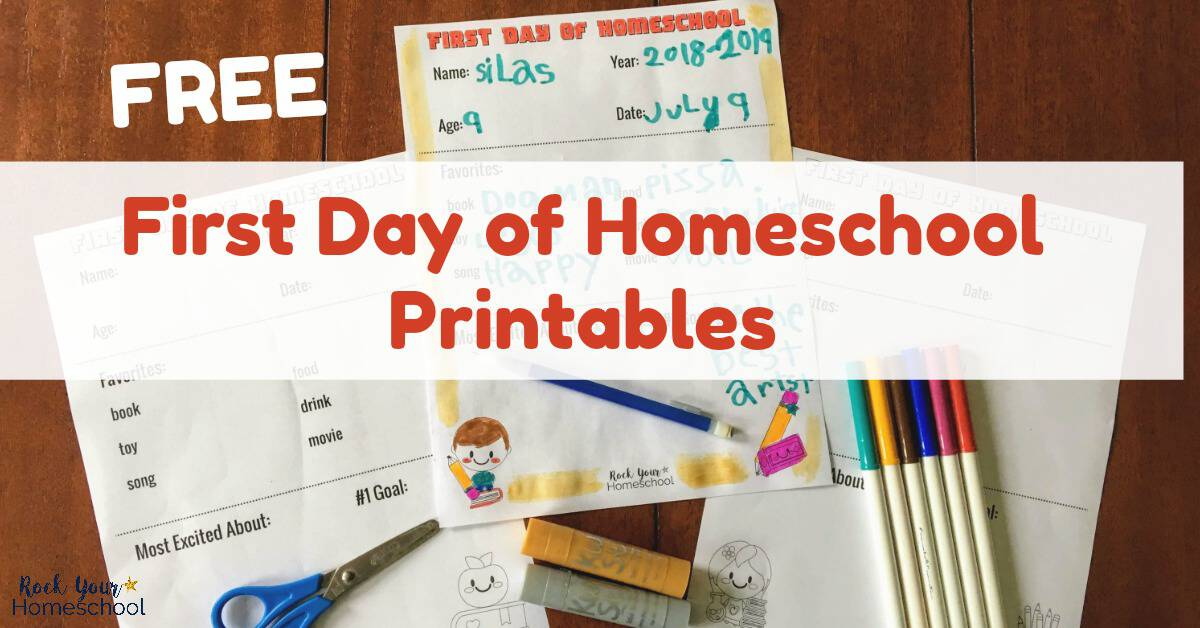 Use these free first day of homeschool printables for fast & fun ways to chat about your upcoming homeschool year & look back on the day with a smile.