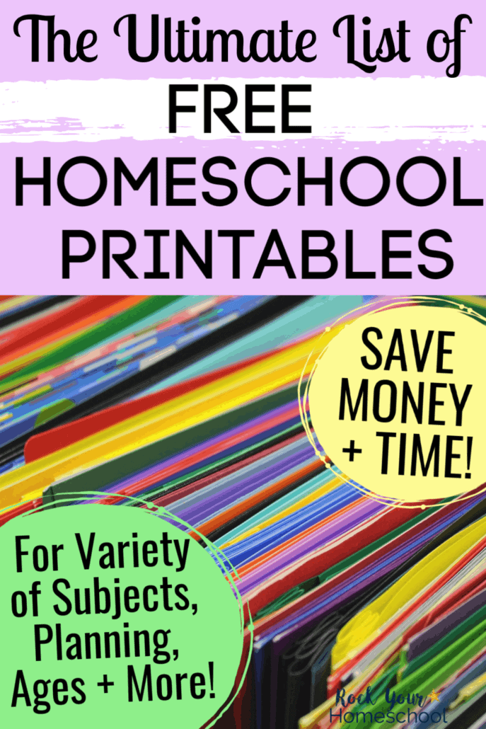 Variety of colorful folders & papers to feature how you can save time & money using this Ultimate List of Free Homeschool Printables to boost learning at home