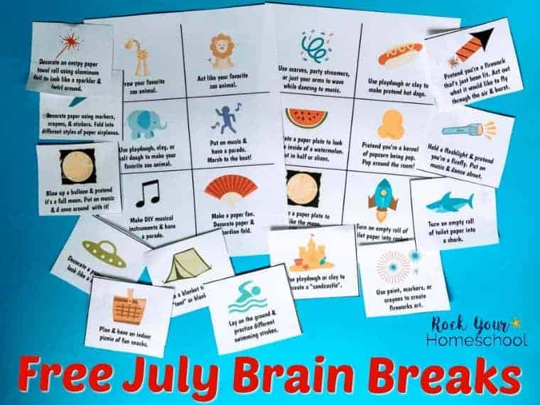 Need some easy ways to have fun with kids this summer? These free printable cards of July Brain Breaks are great for summer break, family fun, & homeschool activities!