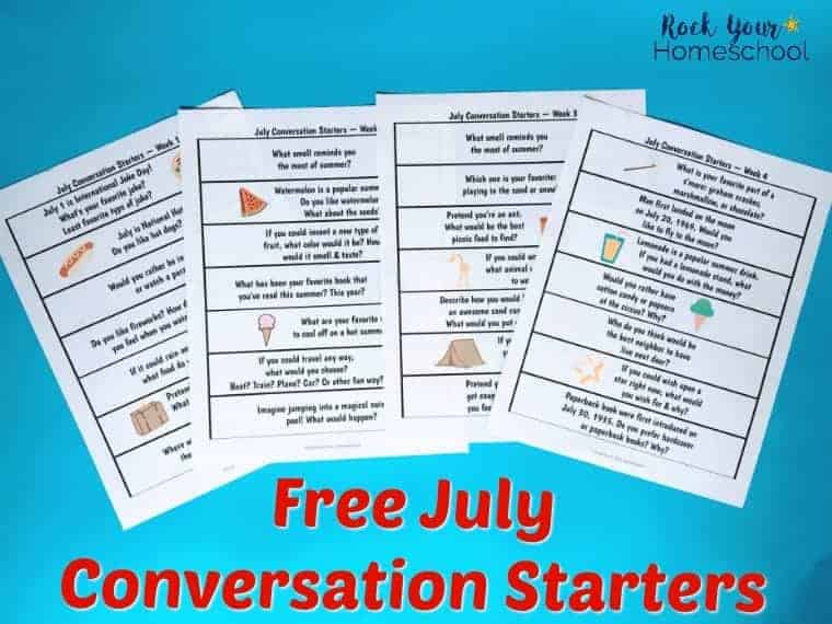 Have some amazing discussions with your kids this summer with these free printable July conversation starters.