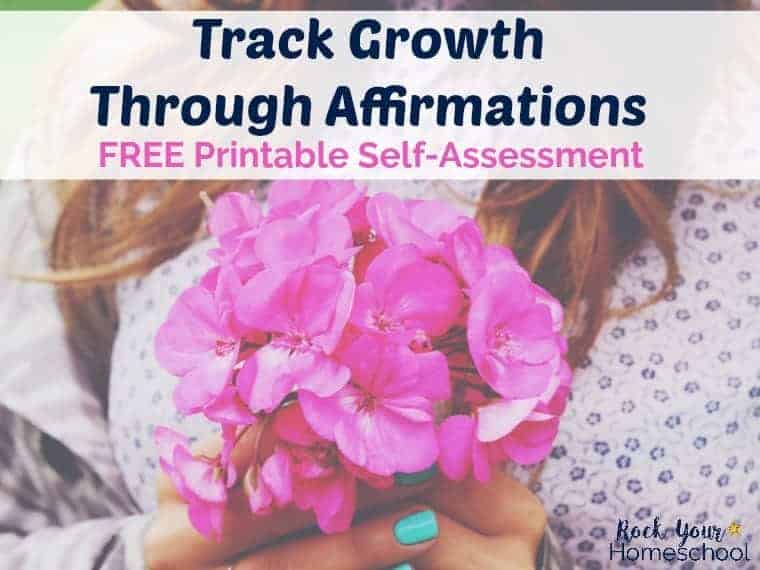 You can make affirmations work for you. Learn how to use these positive self-statements in our FREE Homeschool Mom Mindset Challenge. And use this free printable self-assesment to track growth through affirmations.