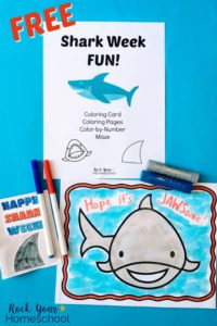 Shark Week Fun coloring pages & card with markers and Kwik Stix