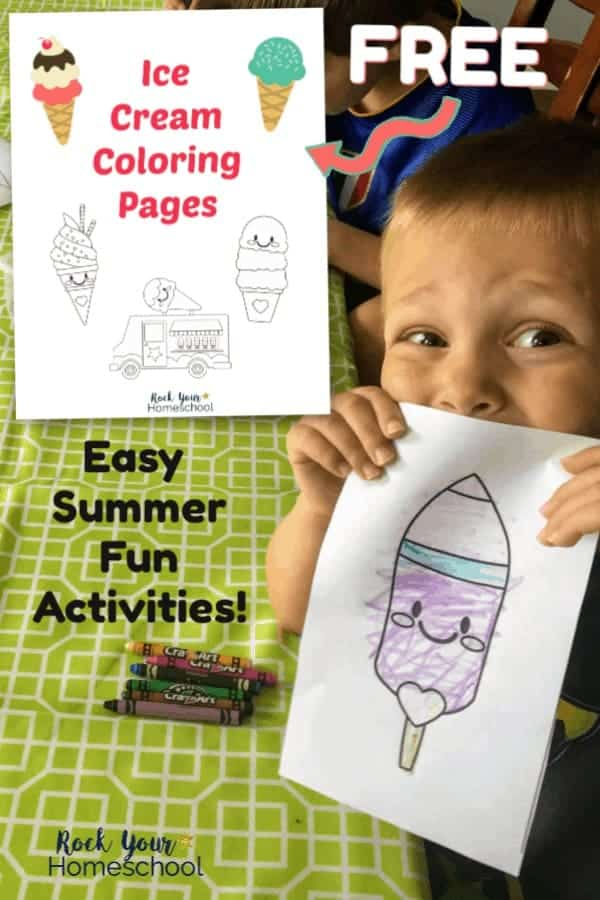 Boy smiling while holding ice cream coloring page with lime green tablecloth and crayons in background and free ice cream coloring pages cover