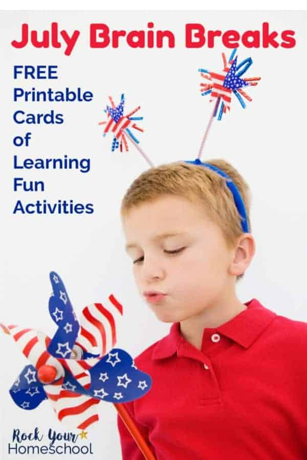 Boy wearing red Polo shirt blowing on patriotic pinwheel & wearing patriotic headband with white background