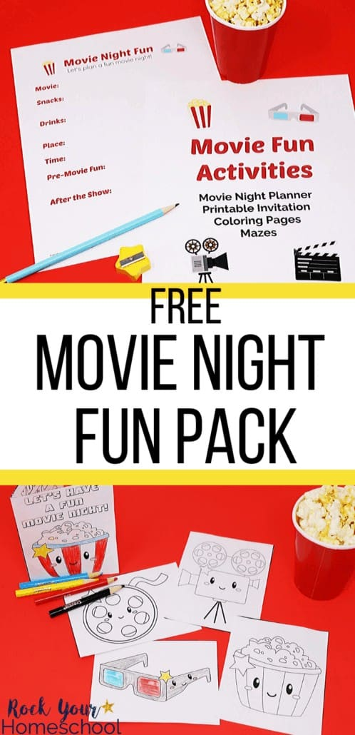 Movie Fun Activities pack with light blue pencil, yellow star sharpener, & cup of popcorn and movie-themed coloring pages & coloring card to feature the amazing ways to get your kids involved in preparing & planning.