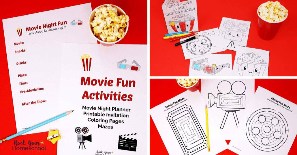 Plan & prepare for an amazing Family Movie Fun Night with this free printable pack full of activities.